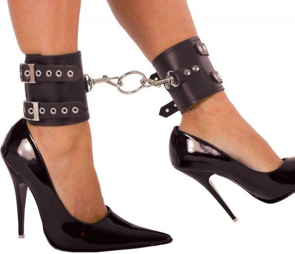 Ledapol Breite Leder Fußfesseln mit Karabinerhaken