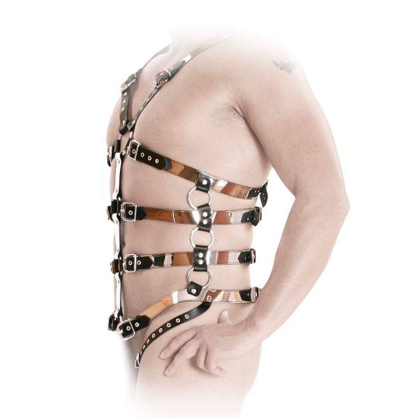 Ledapol Leder Riemen Harness Body in Spiegeloptik