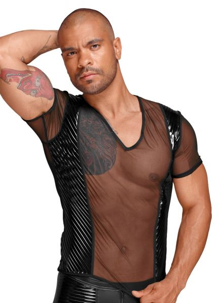 Noir Handmade Rassiges transparentes Tüll Shirt mit Lack