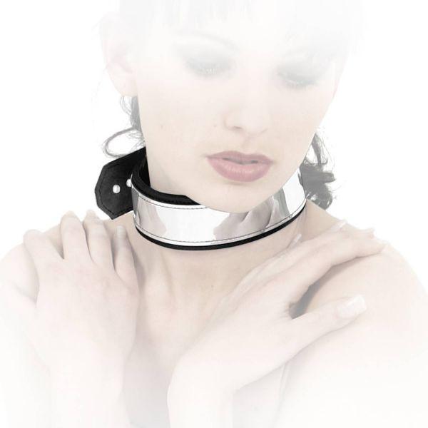 Ledapol Leder Bondage Halsband in Chrom-Optik