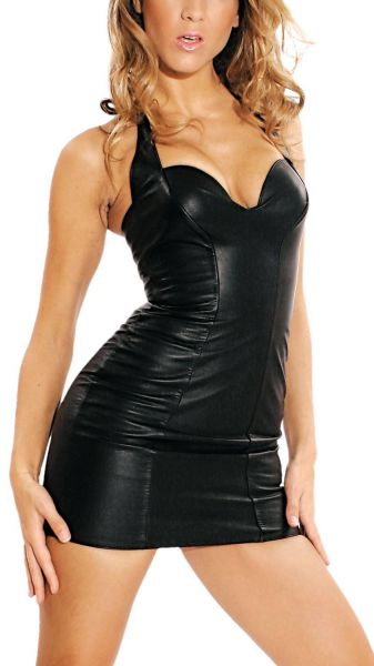 Ledapol Neckholder Leder Stretch Mini-Kleid mit Zip