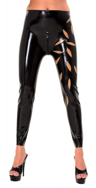 Anita Berg Latex Leggings mit Blatt-Applikationen
