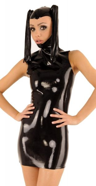 Anita Berg Latex Ponymaske Zip-Kleid mit Pferdeschwänzen