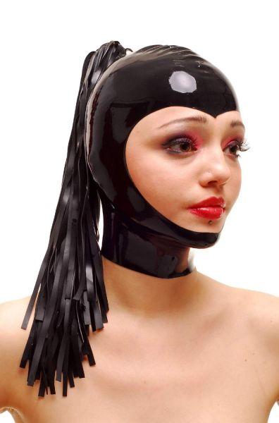 Anita Berg Latex Zip-Kopfmaske mit Pferdeschwanz
