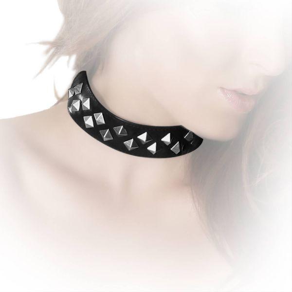Datex Pyramidennieten Halsband zweireihig