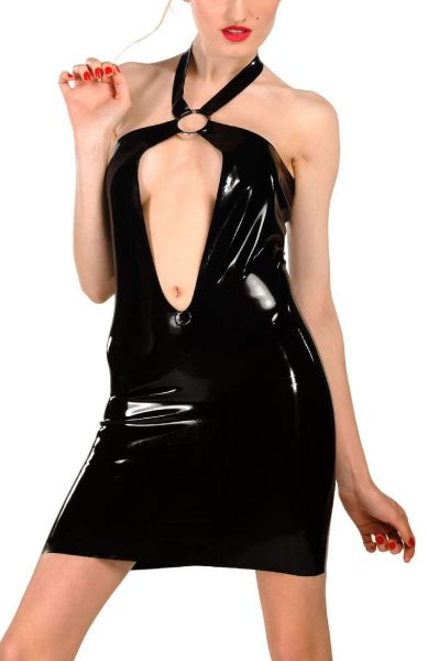 Anita Berg Latex Neckholder Zip-Minikleid