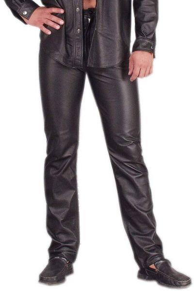 Ledapol Herren Leder Hose im 5-Pocket Jeans Stil