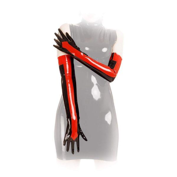 Anita Berg Latex Zip-Handschuhe schwarz-rot