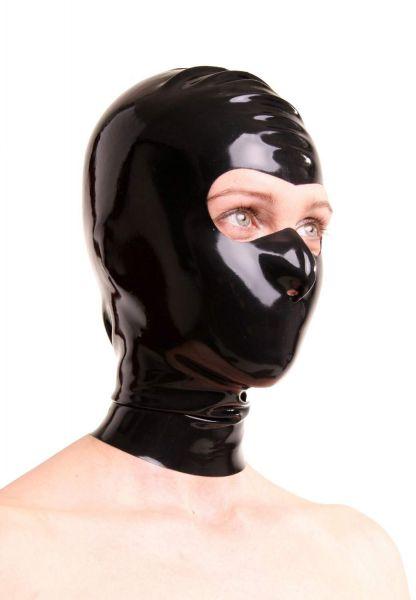 Anita Berg Latex Zip-Kopfmaske mit offenem Augenbereich