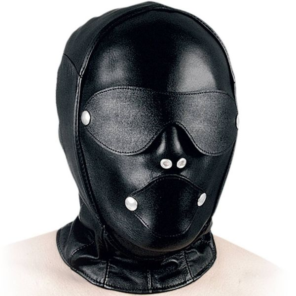 Ledapol Leder Kopfmaske mit Klappen und Knebel