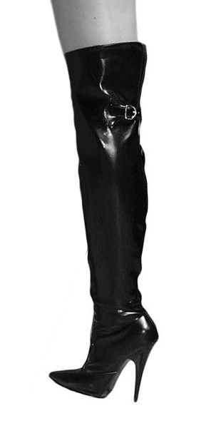 Ledapol Lack Overknee Stiefel Monike schwarz