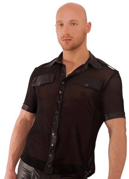 Noir Handmade Tüll Wetlook-Shirt mit Knöpfen