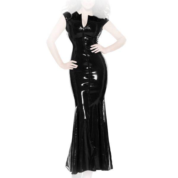 Bodenlanges enges Datex Volant-Kleid mit Zip