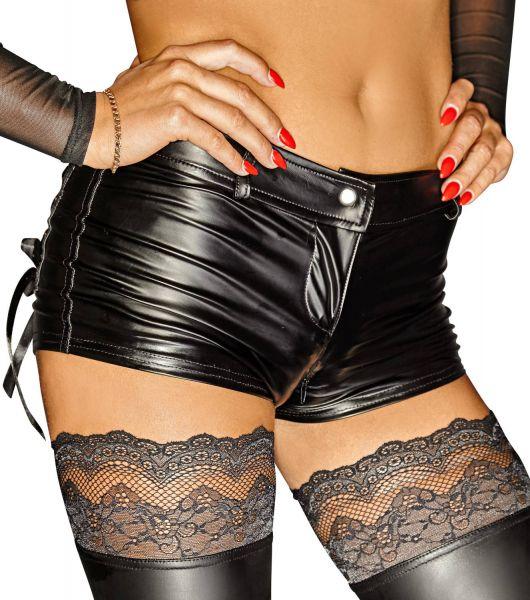 Noir Handmade Wetlook Hot Pants mit Zip