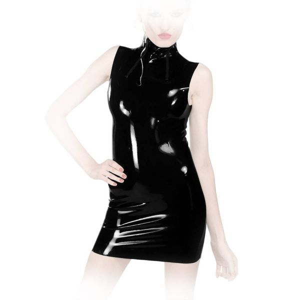 Anita Berg Hochgeschlossenes Latex Mini Kleid mit Zips