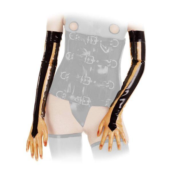 Anita Berg Latex Zip-Handschuhe transparent-schwarz