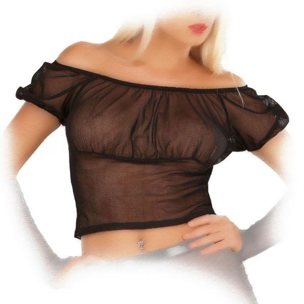 Ledapol Netz Bluse im Carmen Style