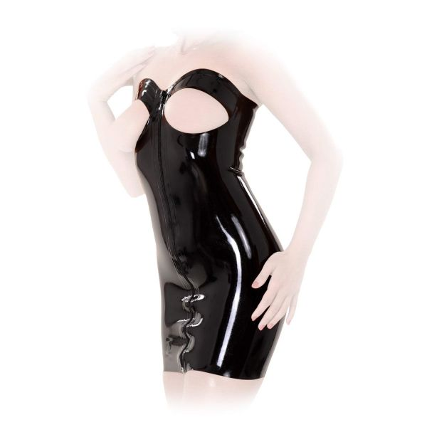 Anita Berg Latex Zip-Minikleid Brust ouvert