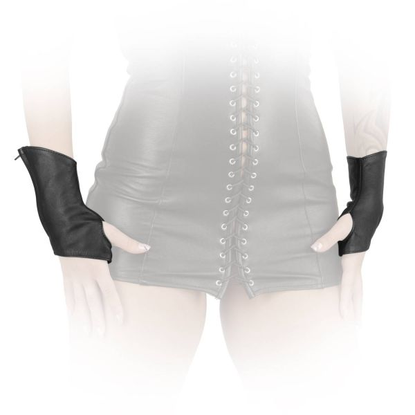 Ledapol Kurze Leder Handschuhe mit Zip