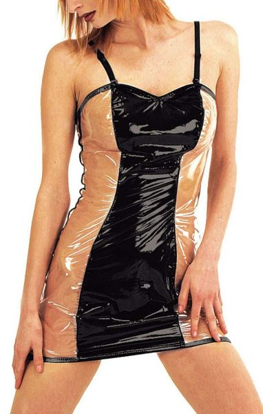 Ledapol Lack Minikleid schwarz-transparent