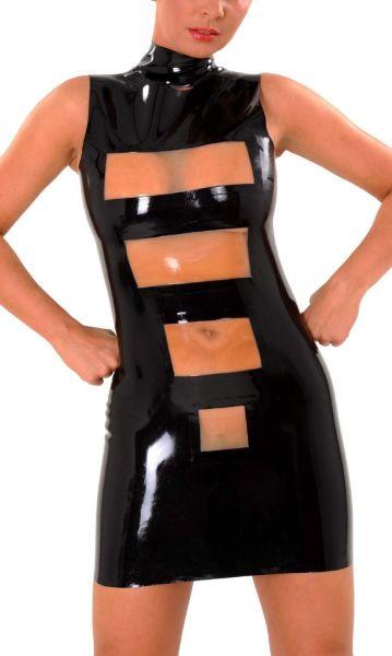 Anita Berg Latex Zip-Minikleid zweifarbig mit Stehkragen