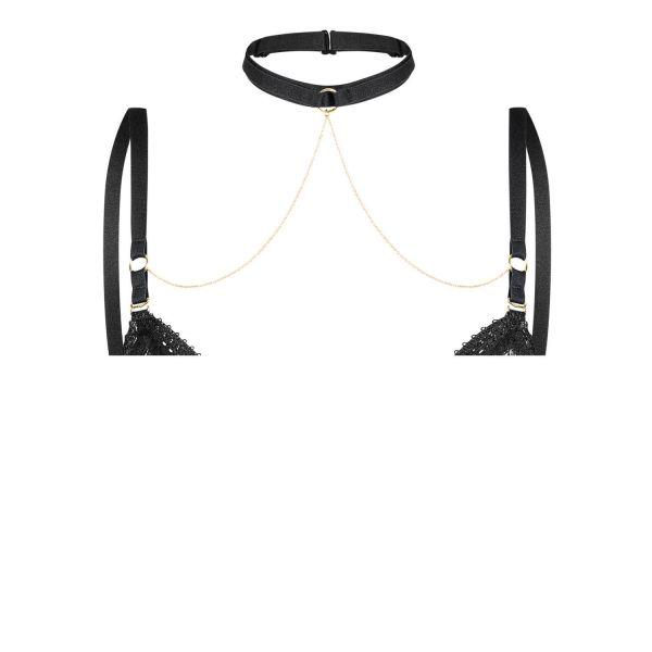 Noir Handmade Samt BH Straps Halsband mit goldfarbenen Ketten