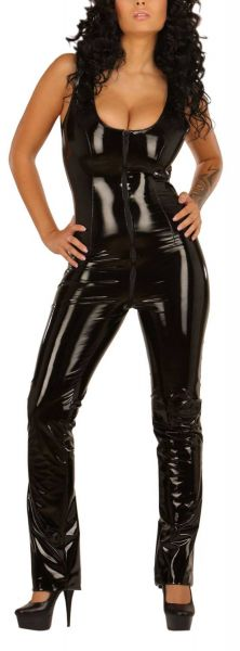 Ledapol Lack Zip Overall Catsuit ouvert